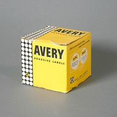 Vintage Avery Adhesive Labels Packaging #modern #packaging #serif #yellow #sans #box #mid #vintage #century