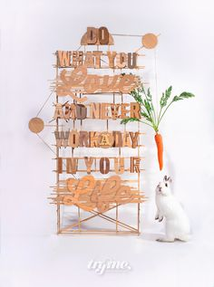 wood carve out #carrot #lettering #wood #craft #handmade #barcelona #rabbit #love #typography