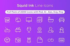 Squid Ink Line Icon Pack