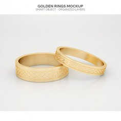 Golden rings mock up Free Psd. See more inspiration related to Mockup, Gold, Template, Web, 3d, Website, Golden, Mock up, Ring, Website template, Up, Rings, Realistic, Real and Mock on Freepik.