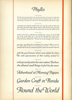 Type specimen showing Phyllis, designed byHeinrich Wieynck in 1911. #typography