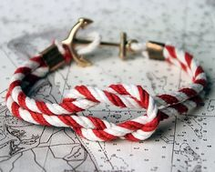 Fancy - Triton Knot Bracelet by Kiel James Patrick #anchor #white #red #nautical