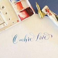 Ombre love, indeed. #Regram @antiquariadesign: Pretty much obsessed with the ombré #calligraphy technique that @idontgiveaclam is teaching