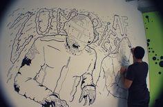 Bruno Miranda daft punk illustration wall art inspiration #punk #graffiti #illustrator #daft #illustration #wall #art #zombie