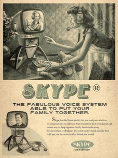 Skype retro poster #buzz #print #socialmedia