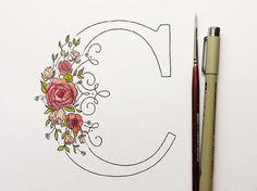 #floral #dropcap #flowers #type #typedesign #handdrawn #painted #watercolor #ink