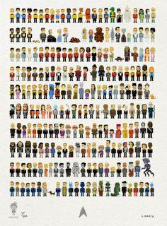 Star Trek characters in pixel form