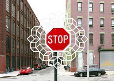 Aakash Nihalani, 'Stop Pop + Roll', NYC unurth | street art #sign #stop #art #street