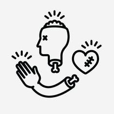 Good To The Bone, created by Michael Nÿkamp @ mkn-design.com #line #drawing #vector #head #heart #hand #good to the bone #bone