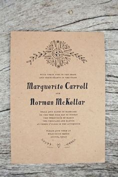 Bohemian folk art wedding invitation,  hand illustrated and printed on brown kraft paper. via Magpie Paper Works : photo by The Nichols