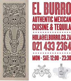 Art of the Menu: El Burro #mexican #menu #icons #poster