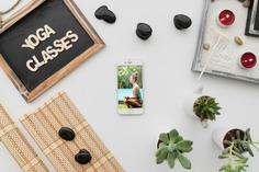 Peaceful yoga composition with smartphone Free Psd. See more inspiration related to Mockup, Spa, Health, Cute, Yoga, Smartphone, Chalkboard, Mock up, Plant, Decoration, Cactus, Bamboo, Healthy, Decorative, Peace, Mind, Balance, Relax, Pot, Meditation, Wellness, Healthy lifestyle, Lifestyle, Up, Tablecloth, Stones, Relaxation, Composition, Mock, Peaceful and Inner on Freepik.