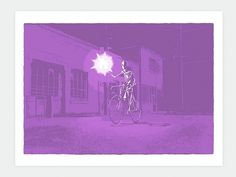 Snowblinded™ - Road Flare Screen Print #print #art #night #screen print #bike #bicycle #road #flare #colorado #snowblinded