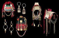 AKHA TRIBAL ARTIFACTS Laos and Thailand silver earrings headdresses textile swing ritual Akha way village spirit gate coffin rice terrace op #fashion #tribe #art #akha