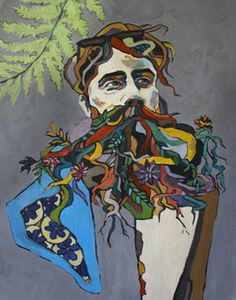 Root Beard - Katie Melrose #manly #beard #illustration #portrait #colorful #art #painting #roots #face #organic