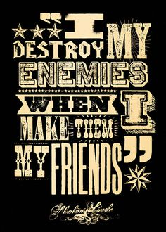 Fit for a Frame — I destroy my enemies #quote #print #letterpress #black #vintage #gold #type #metallic #typography