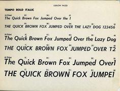 Tempo Bold Italic type specimen