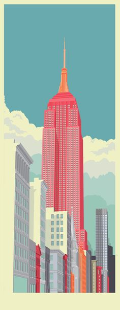 5th Avenue New York City Illustration by Remko Heemskerk #city #illustration #art #york #new