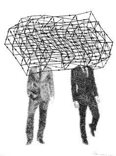 Get Directions, by Dan Bina #art #drawing #ink #paper #abstraction #figurative #dots #dan bina #brooklyn #ny #new york