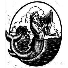 woodcut #woodcut #sea #mermaid