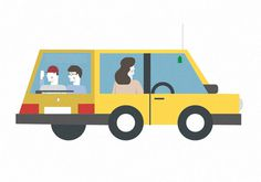 Holiday #family #vehicle #yellow #travel #illustration #holiday #summer #car