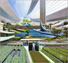 ... orbiting space colony - Syd Mead | Flickr - Photo Sharing! #crops #plants #mead #colony #space #orbit #syd