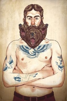 Illustrations 2012 on Illustration Served #sparow #beard #eagle #tattoo #painting #bears #anchor