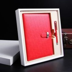 Red Leather Notebook And Pen For Corporate Diwali Gift For Employees