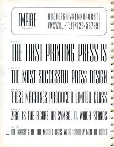 Empire type specimen