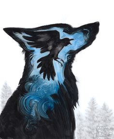 Painting #wolf #raven #painting