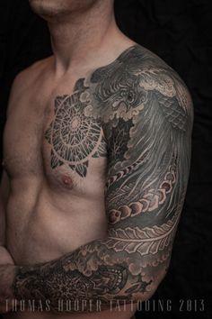 Thomas Hooper Tattooing Pheonix and Mandala Full Sleeve _3 #thomas hooper