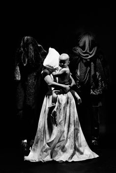 A Women in a Wedding Dress with Her Baby, (2014) #white #woman #black #photography #art #and #dark #wedding #baby #madonna
