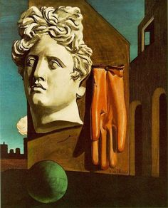 "Giorgio de Chirico with his surrealism painting ""Love Song"""