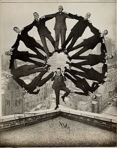 [Man on Rooftop with Eleven Men in Formation on His Shoulders] Unknown, American Date: ca. 1930 ... Carol Morris ART 214.01: MUST SEE! at th