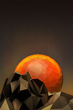 Baubauhaus. #illustration #geometry #sun #mountains #fire #ball #surfaces