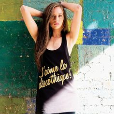 Gold J'aime Vest (Black) #tshirt #photography #french #fashion #artist #typography
