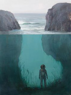 Jeremy Miranda - Art #submerged #ocean #diver #waves #illustration #sea #rocks #diving #painting #seaweed #underwater