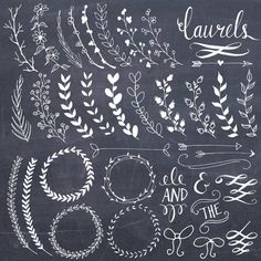 CLIP ART: Chalkboard Laurels & Wreaths // Clipart Photoshop