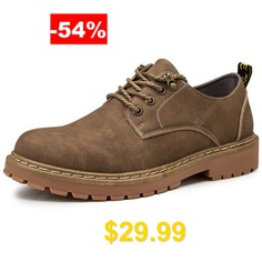 AILADUN #Men's #Solid #Color #Lace-Up #Tooling #Boots #Casual #Shoes #- #KHAKI