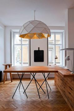 Amazing pendant #white #pendant #geometric #wood #gold #lighting