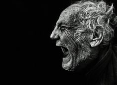Lee Jeffries #black and white #old man #scream #dramatic