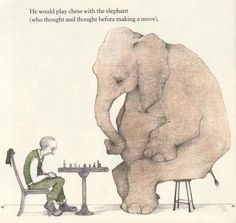 A Sick Day for Amos McGee #chess #elephant #illustration #checks #game