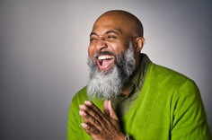 Portrait of Middle Aged Bald African American Man with Beard