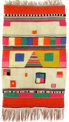 Max Peiffer Watenphul Slit Tapestry, 1922 Hemp (warp) and wool (woof), 137 x 76 cm | T 1 Bauhaus-Archiv, Museum für Gestaltung, Berlin #bauhaus #colors #pattern #tapestry