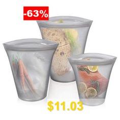 Food-grade #Silicone #Storage #Bag #Zipper #Closure #Bags #Home #Use #Pack #3PCS #- #BATTLESHIP #GRAY