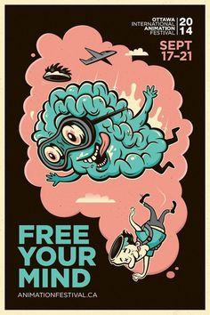 Adeevee - 2014 Ottawa International Animation Festival: Free your mind #illustration #poster #free #mind #brain #float #cloud