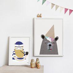 #nordic #design #graphic #illustration #danish #simple #living #interior #kids #room #poster #bear #icecream #cone #teddy #sweet
