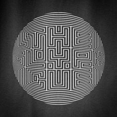 Labyrinth Type #typography #black and white #circle #lines #labyrinth