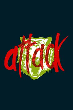 attack cat by IscheDesigns #lettering #red #texture #attack #tiger #hand