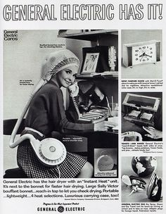 1960s Advertising - Magazine Ad - General Electric Portable Hair Dryer (USA) | Flickr - Photo Sharing! #vintage #humor #advertising